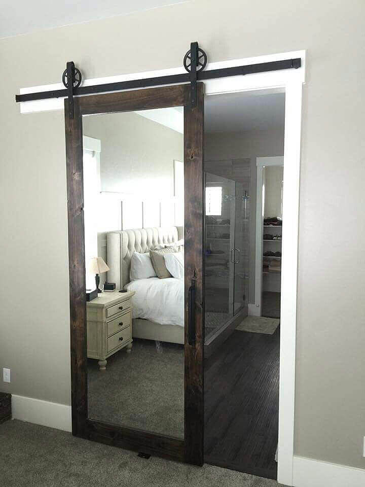Penthouse Style Mirrored Sliding Door
