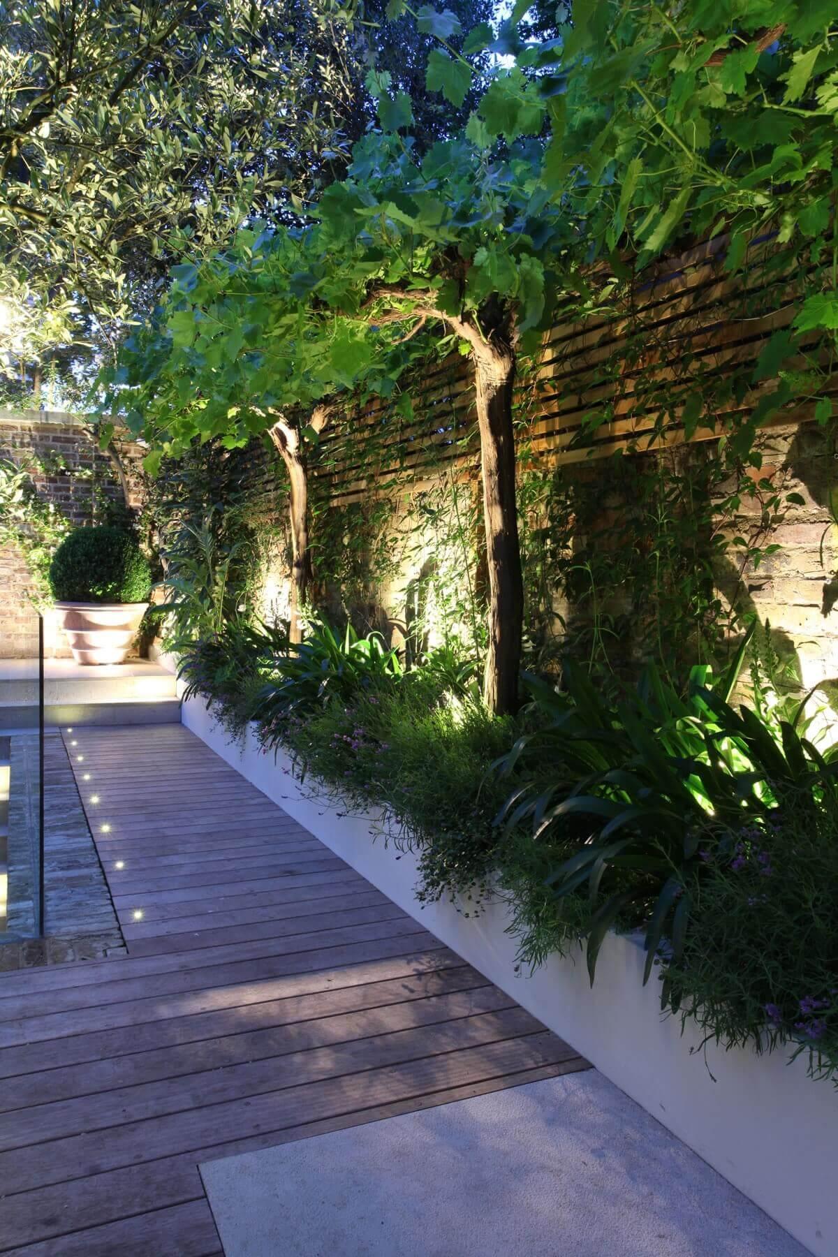 Backlit Garden Planter Beds and Spotlights