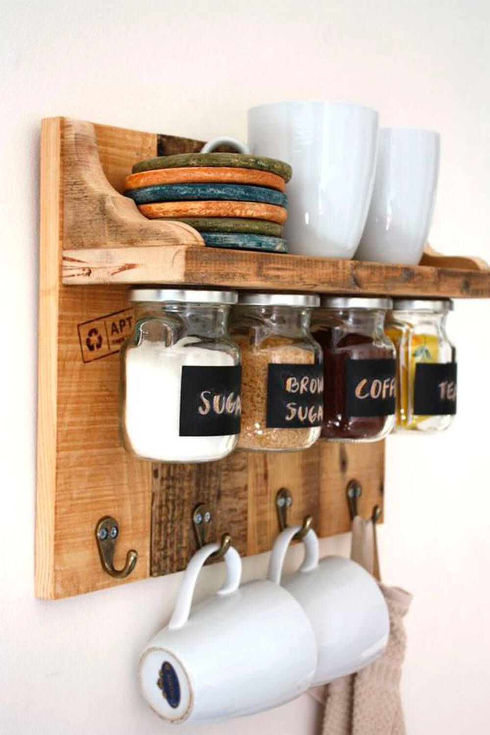 Wall Mug Rack Holder Reclaimed Wood Pallet Wood Storage Shelf Rustic Hooks Kitchen Dining Bar Kitchen Storage Organization