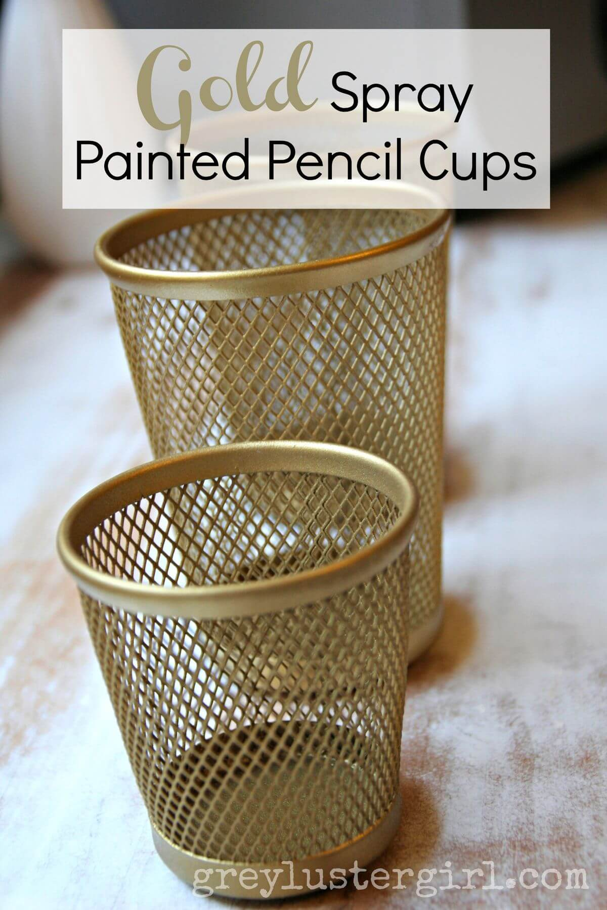 Pencil Cup Painted Gold for the Boss