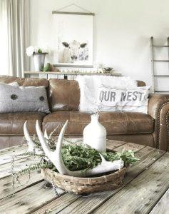 Primitive Deer Antler Centerpiece Basket Homebnc