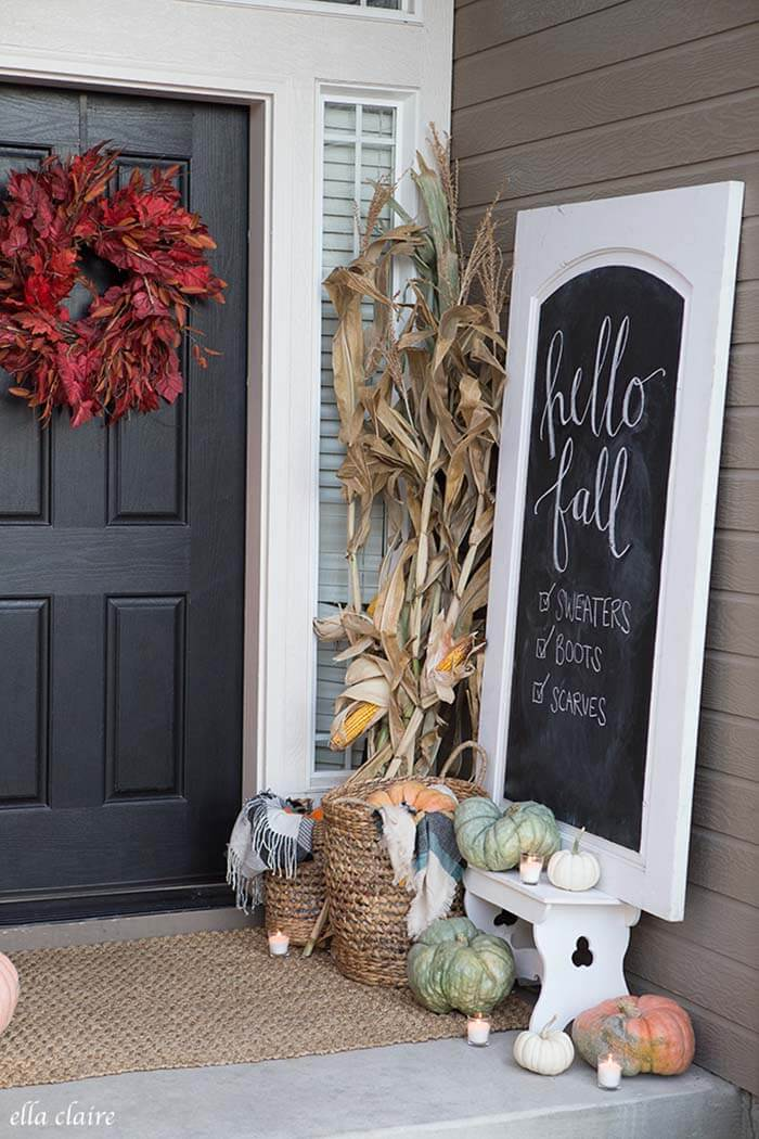 30 best front porch sign designs and diy ideas for 2018 fall entryway framed chalkboard sign diy solutioingenieria Image collections
