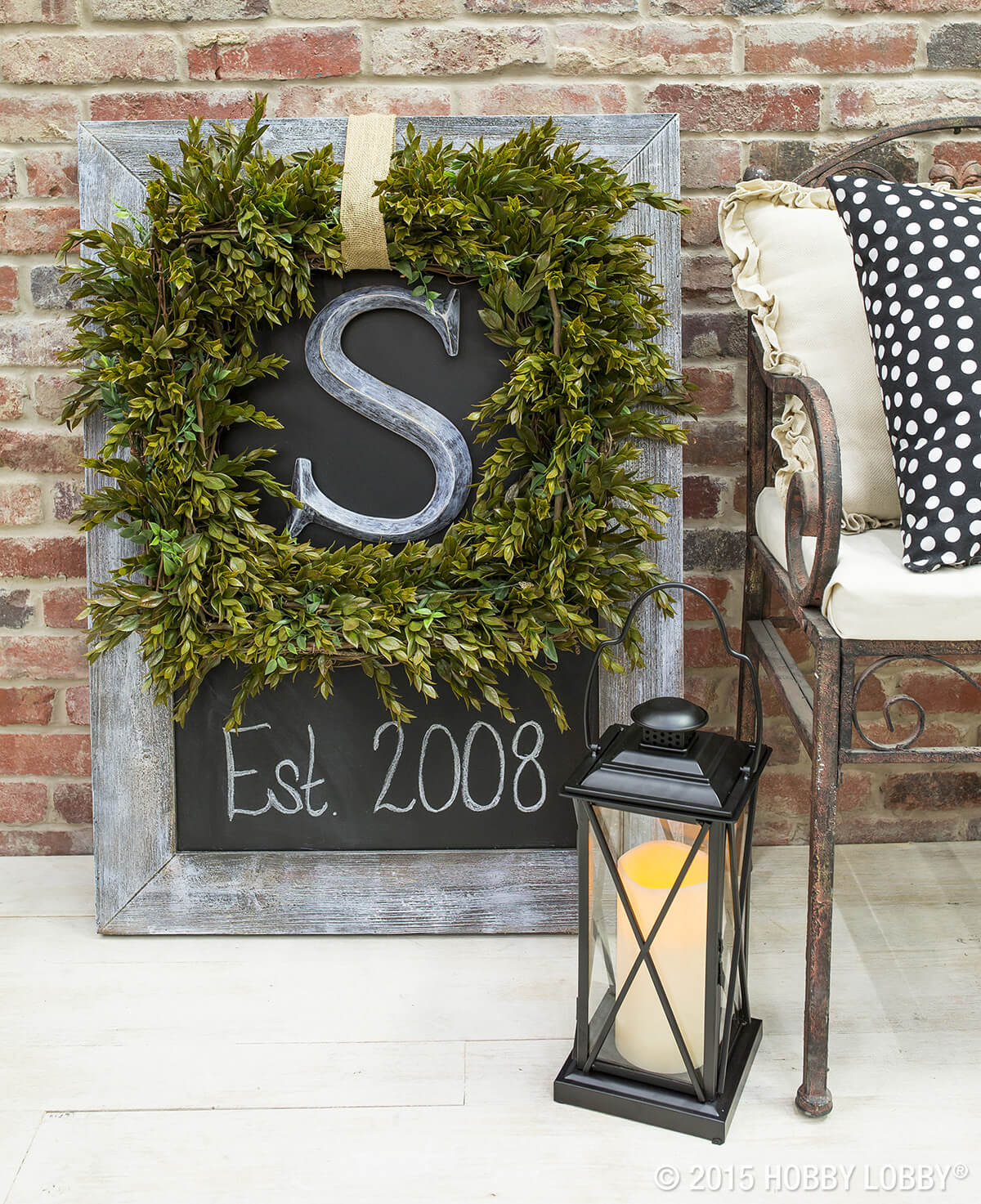 Elegant Boxwood Wreath and Chalkboard Placard