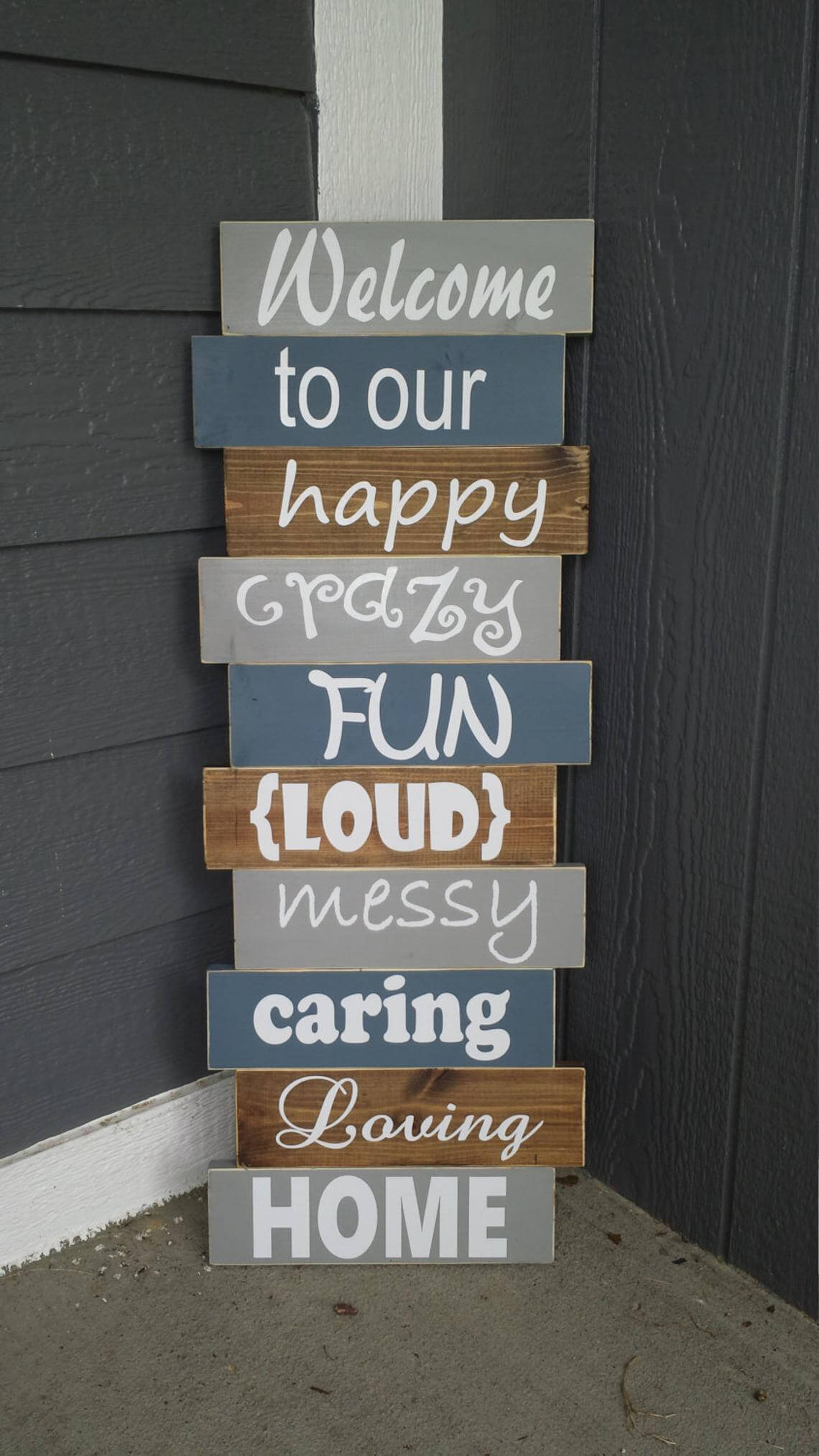 Stacked Style Wooden Welcoming Sign