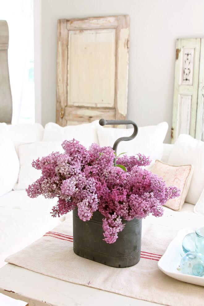 Lilac Flower Centerpiece in a Tin Bucket