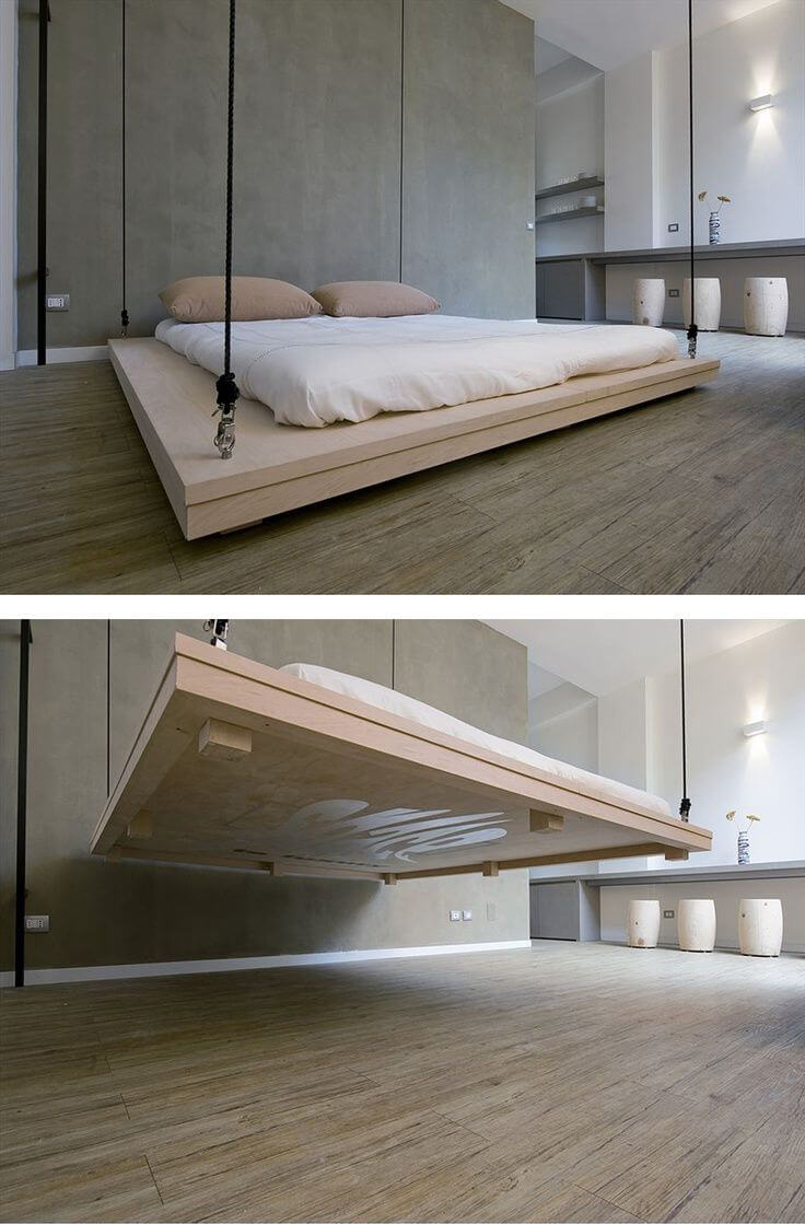 Ceiling Mounted Drop-Down Platform Bed