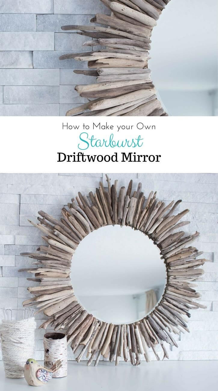 Round Mirror Designed with Pieces of Driftwood