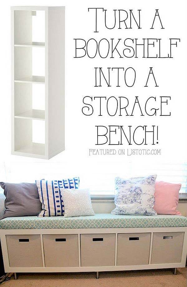 DIY Bookshelf Bench Seat with Storage Bins