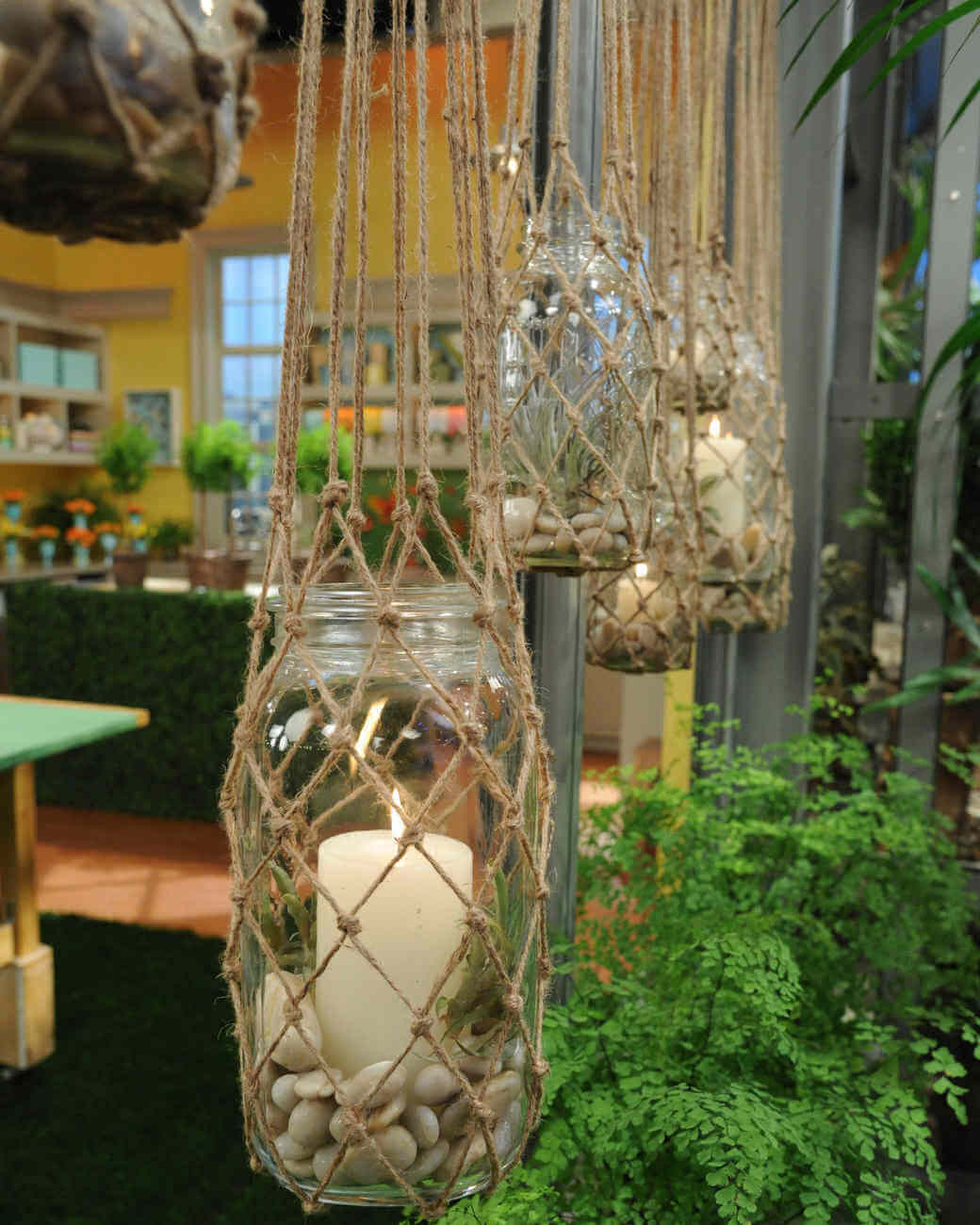 Hanging Twine Mesh Candle Holders
