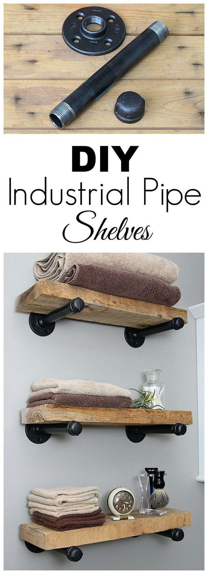 Up-cycled Pipe and Wood Shelves
