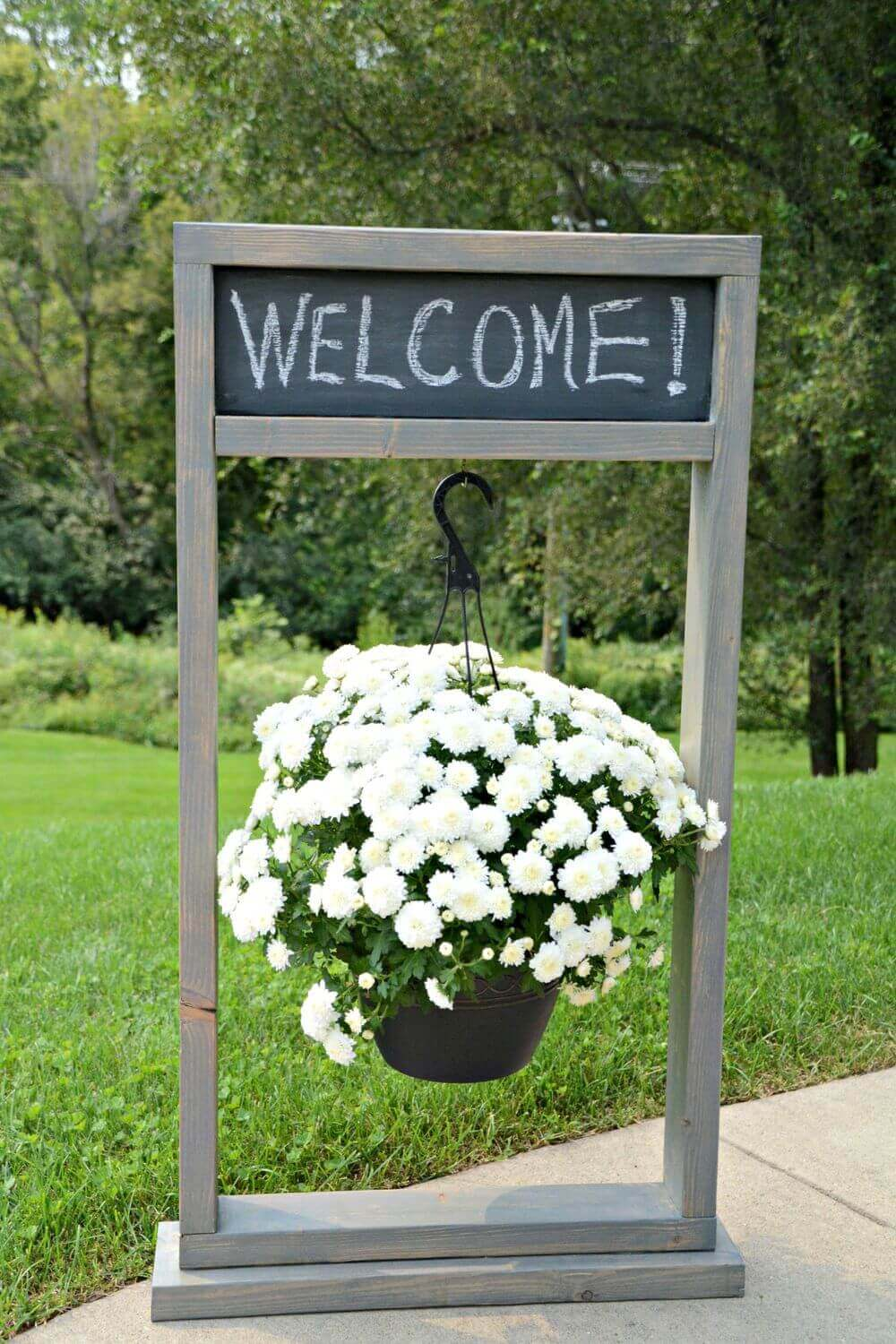 Entryway Chalkboard Sign and Hanging Planter