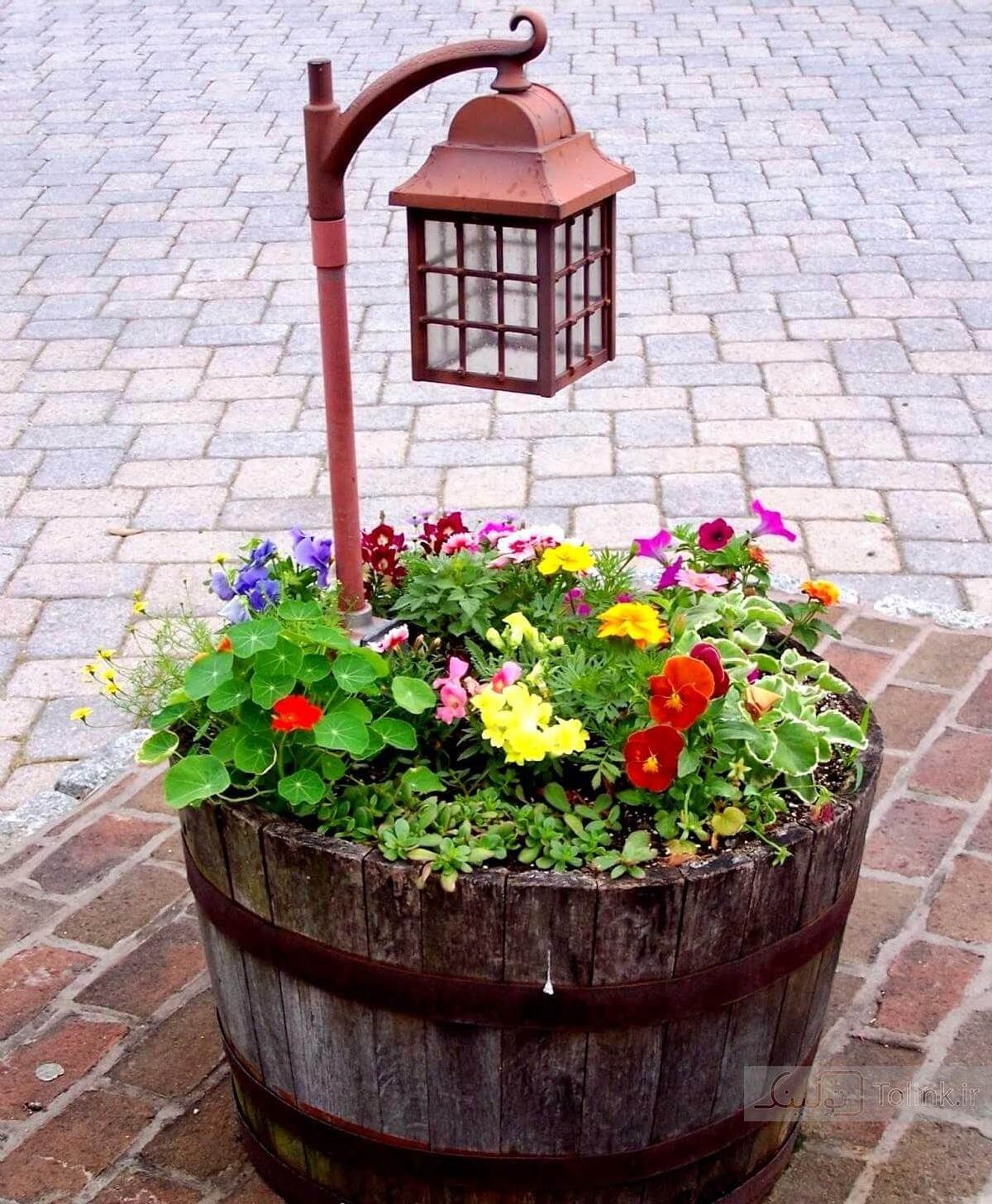Kinkade Lantern Wine Barrel Planter