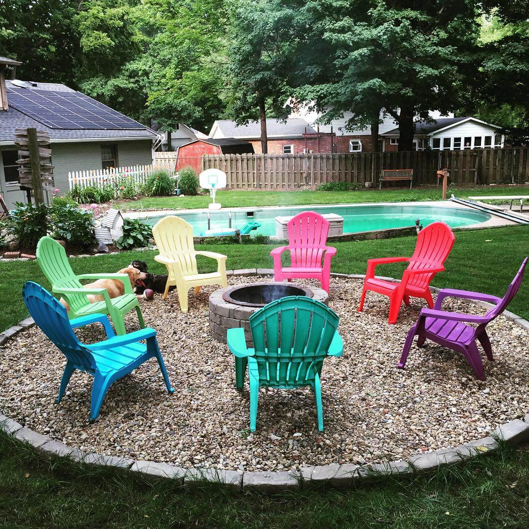 Stone Pit with a Rainbow of Chairs