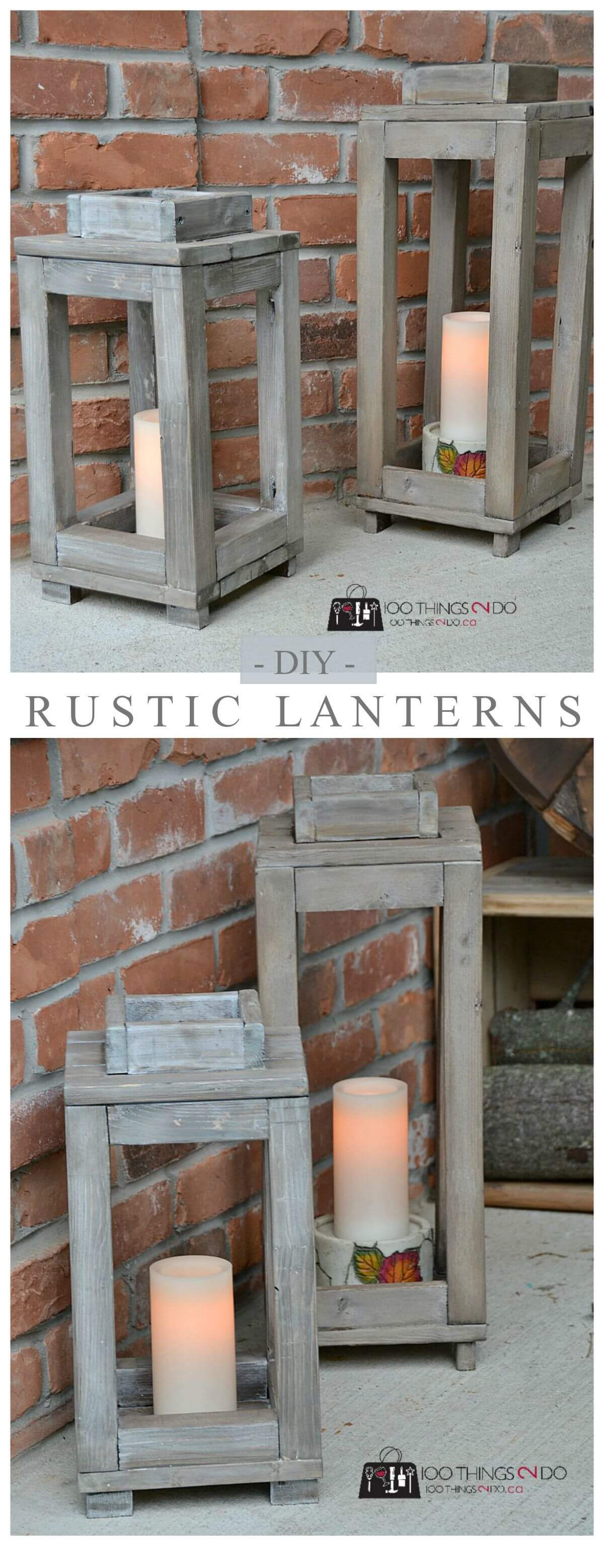 Simple DIY Rustic Wooden Lanterns