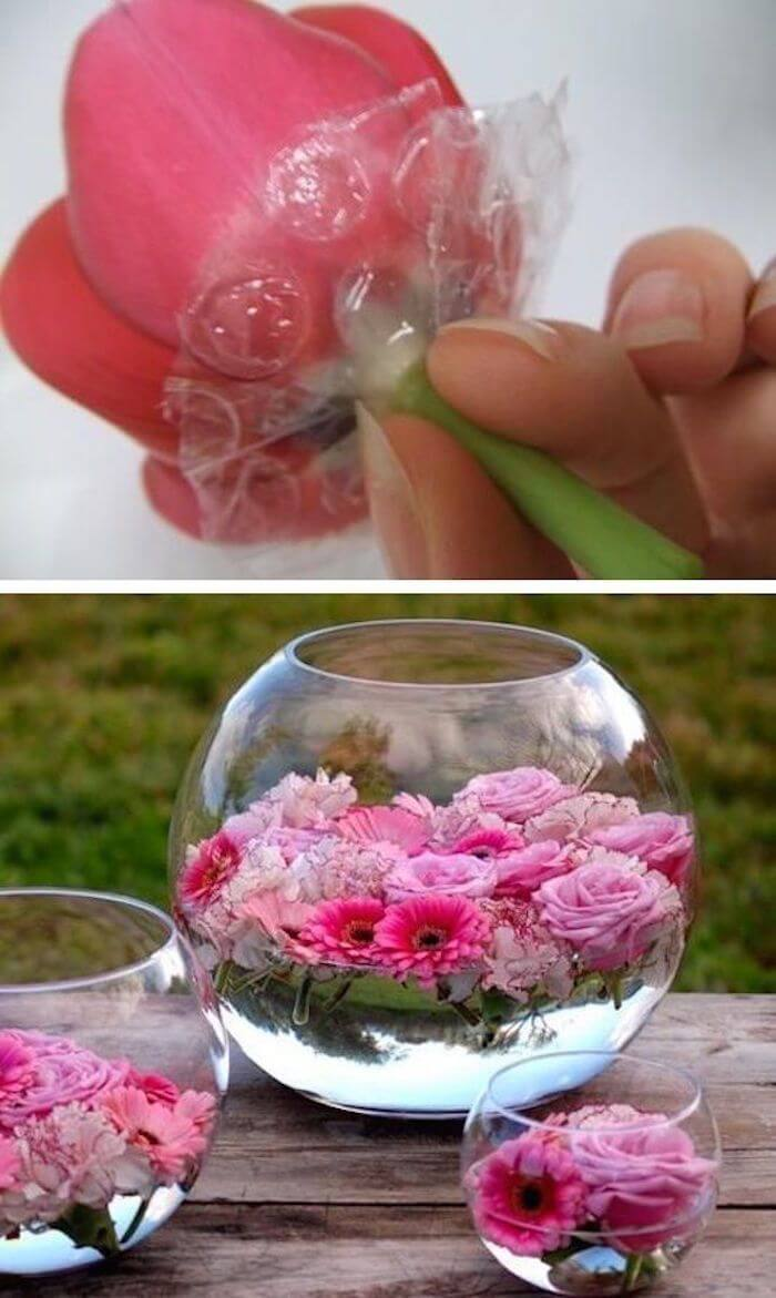 Pretty in Pink Rose Bowl Summer Table Decorations