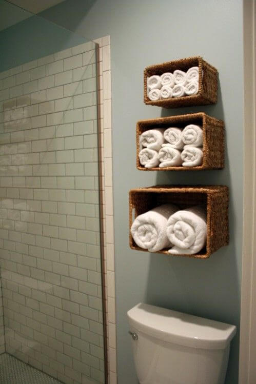 tiered trio ascending towel baskets - Bathroom Towel Storage