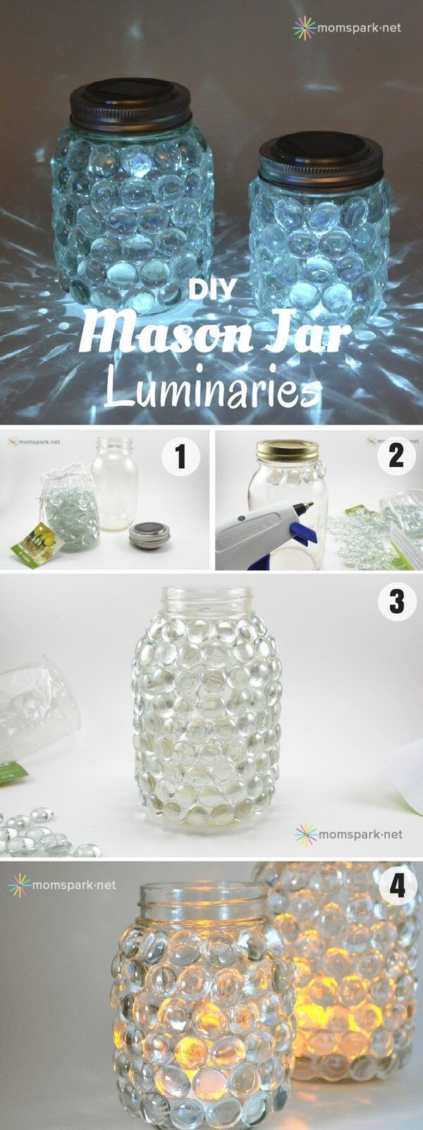 Glass Jewel DIY Mason Jar Luminaries