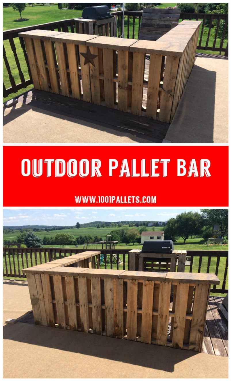 An L-Shaped Pallet Bar for a Deck