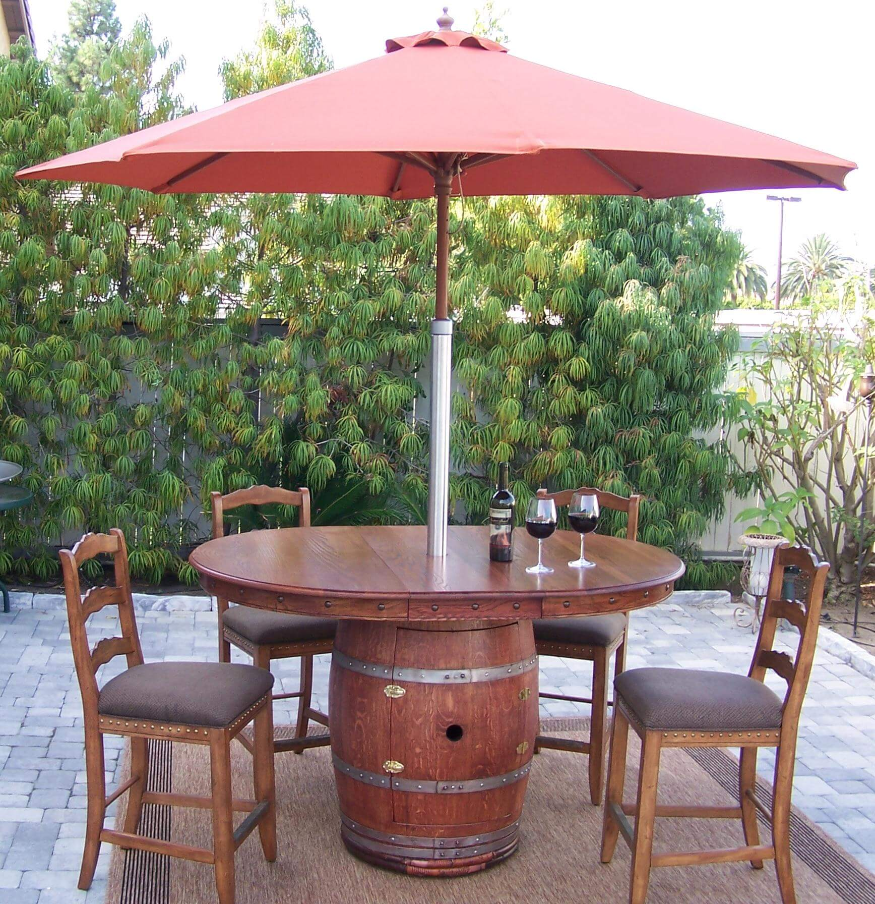 napa style wine barrel patio table source outdoor furniture bar side a