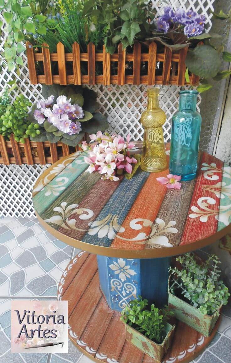 Repurposed Wooden Cable Spool Table