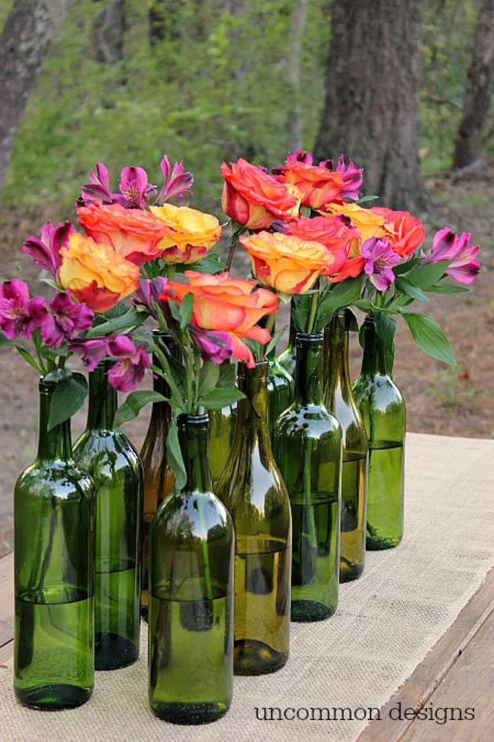 24 Creative Ways to Repurpose Your Empty Wine Bottles. Wine lovers, this one's for you. By Rori Kotch. Make your own side-table lamp using an upcycled wine bottle. Play up the bottle's shape with a simple lampshade. Brighten fall decor with bottle display painted to resemble candy corn, or use whatever colors you'd like and display them.