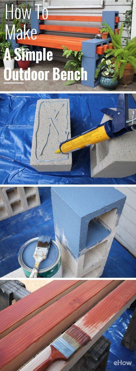 Cedar & Cement Garden Bench