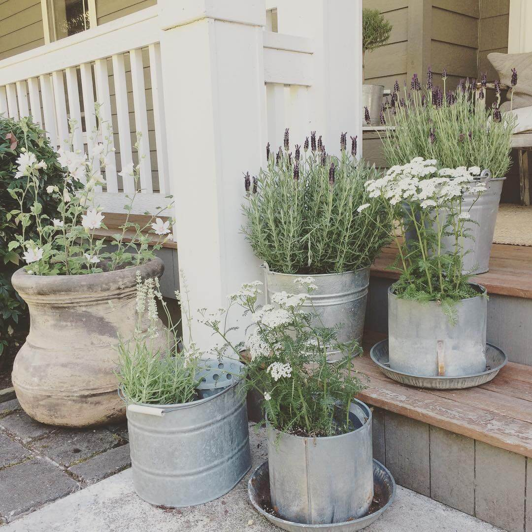 Tin Pail Porch Planters