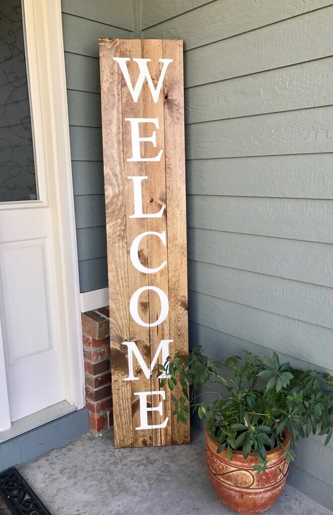 Tall Rustic Wooden Welcome Sign