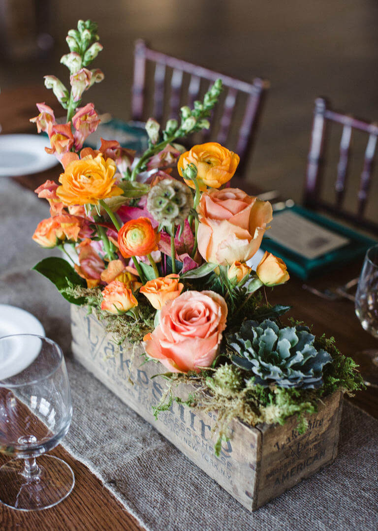 Rustic Wood Box Flower Centerpiece