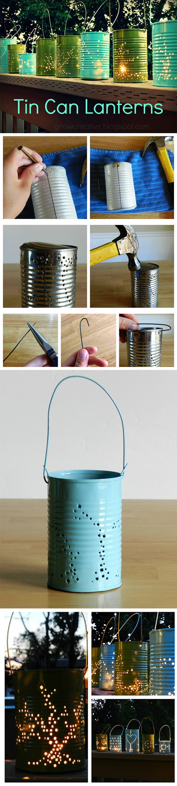 Easy Recycled Tin Can Lanterns