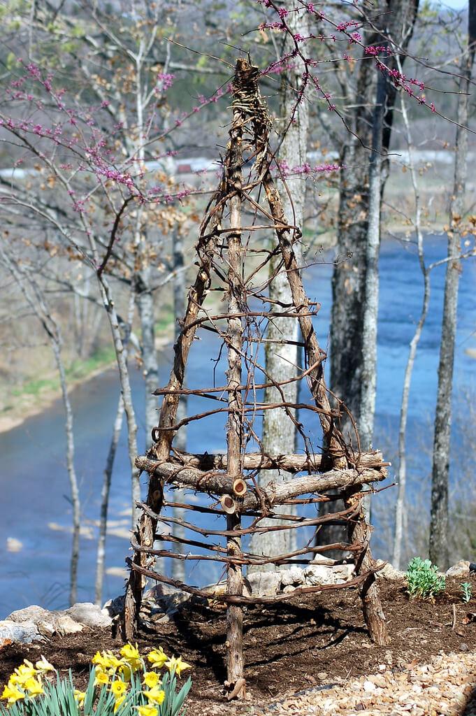 Rustic Wooden Climbing Bean Obelisk