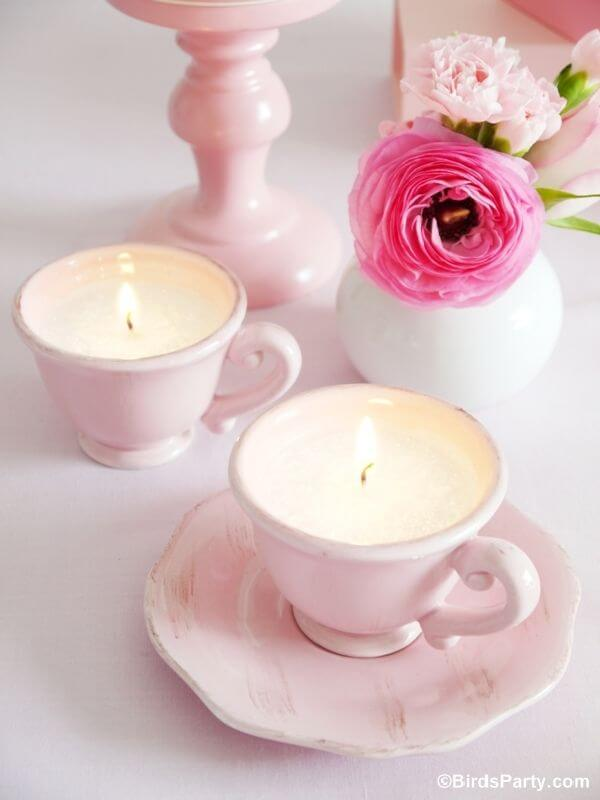 Tea Cup Candles Summer Table Decorations