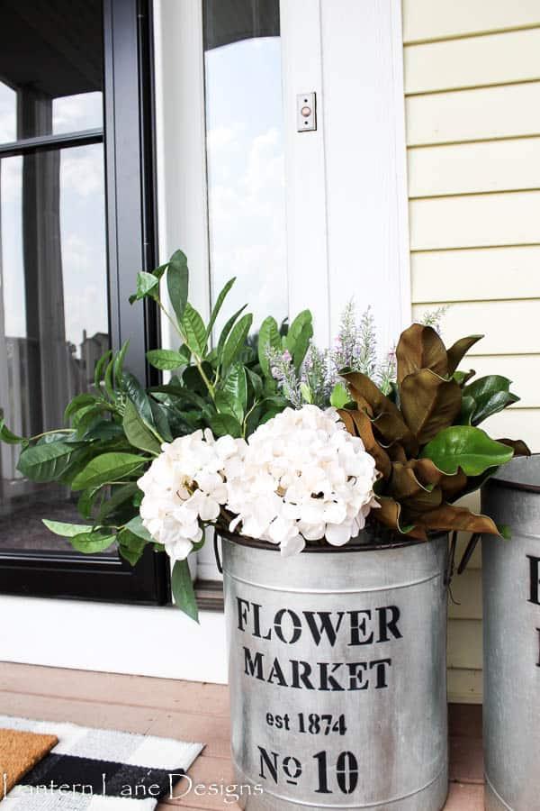 Old-School Metal Bucket Flower Pot