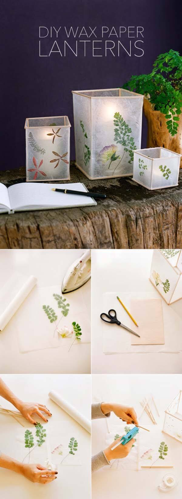 Pressed Flower And Leaf Wax Paper Lanterns Homebnc