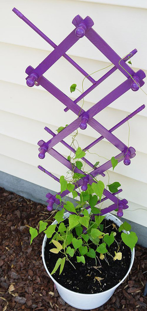Recycled Coat Rack Plant Trellis