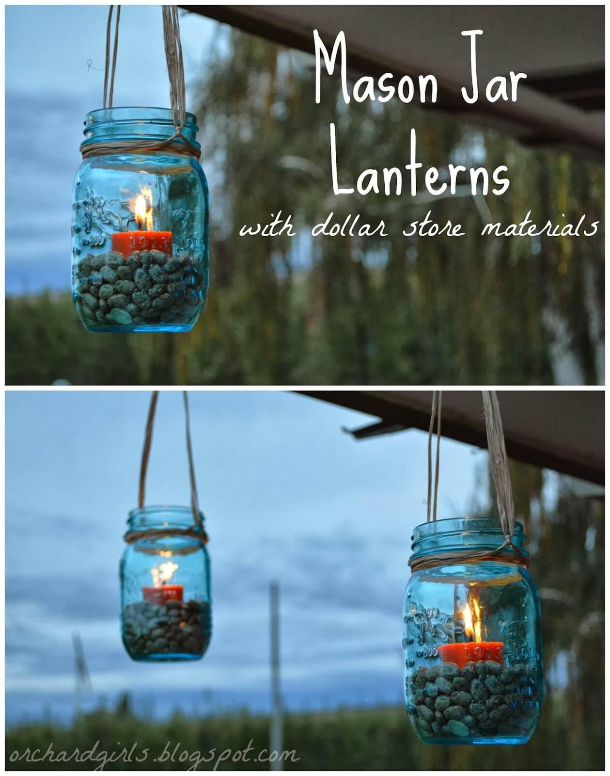 Inexpensive DIY Mason Jar Lanterns