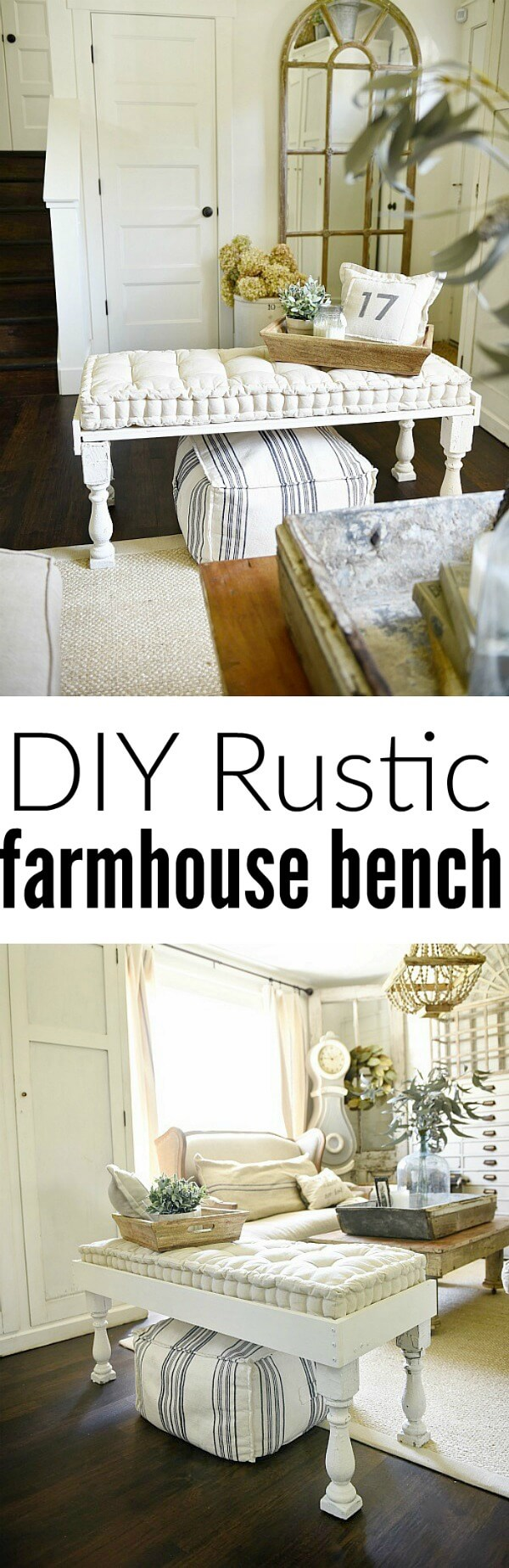 DIY Rustic Bench with Tufted Cushion