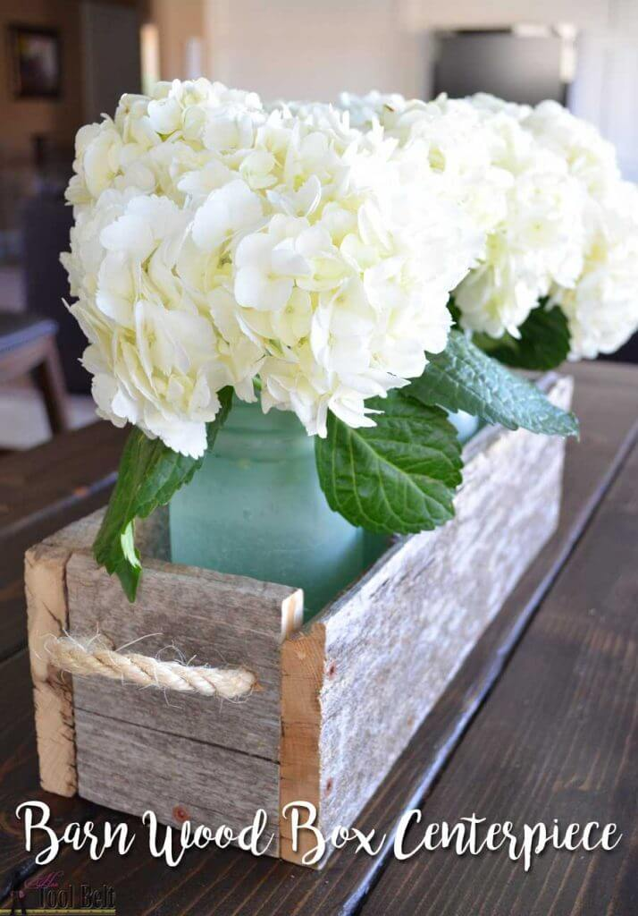 Twine and Reclaimed Wood Box Centerpiece