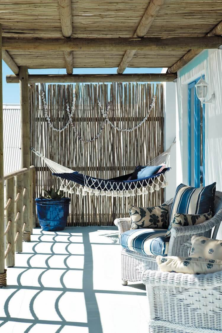 Blue and White Mediterranean Seaside Porch