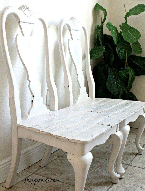 Recycled Shabby Chic Chair Bench