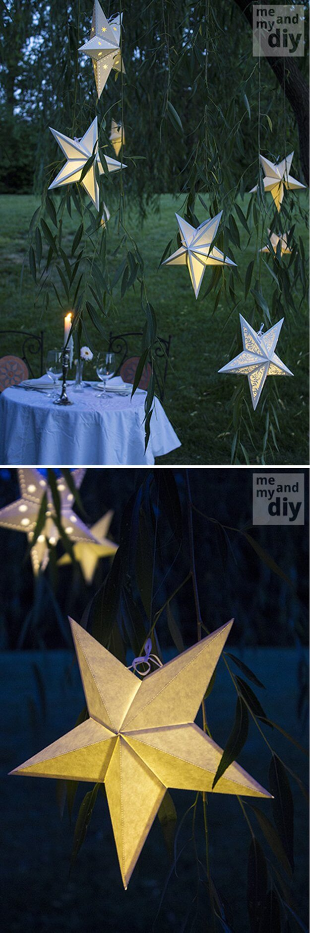 Homemade Star Shaped Paper Lanterns