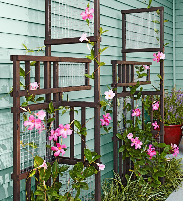Sculptural Wood and Wire Asymmetrical Flower Trellis