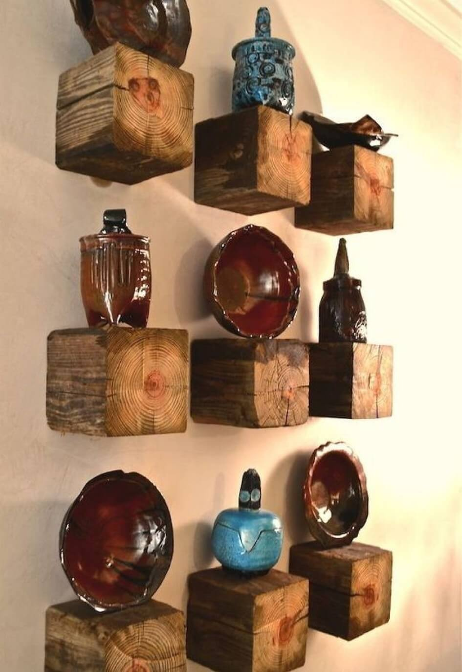 Wooden Cube Tiered Shelving