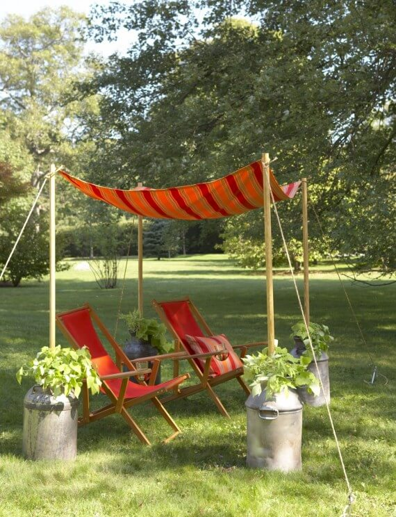 9. Easy Tent Style Awning With Milk Can Anchors