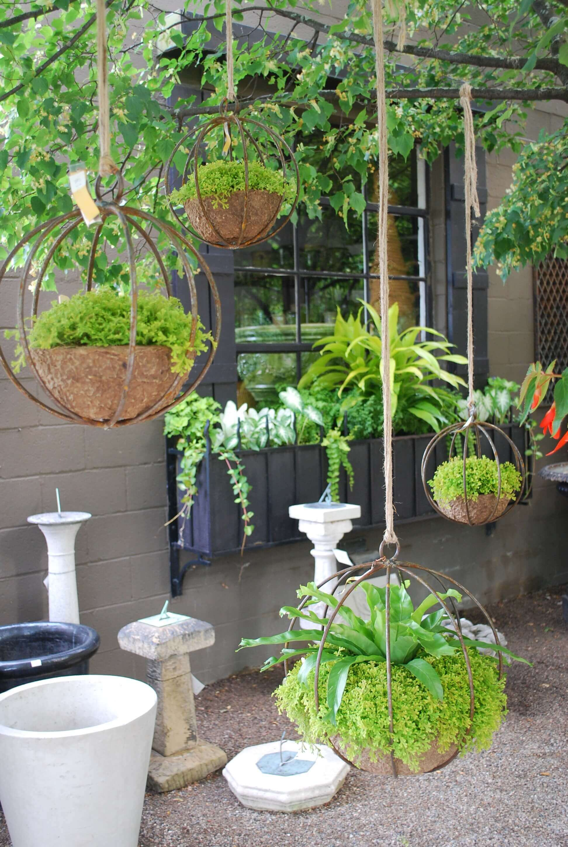 Superior Hanging Planters Part - 13: Chic Industrial Globe-Shaped Iron Hanging Planters