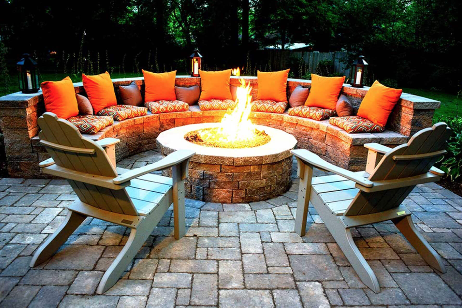 Orange Glowing Round Firepit Area Idea