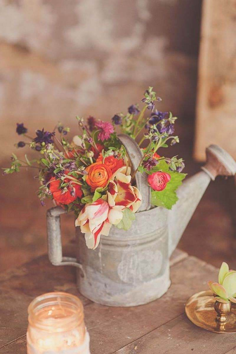 Antique Watering Can Flower Vase Table Decoration