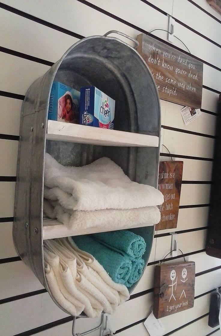 Repurposed Washtub Towel Storage