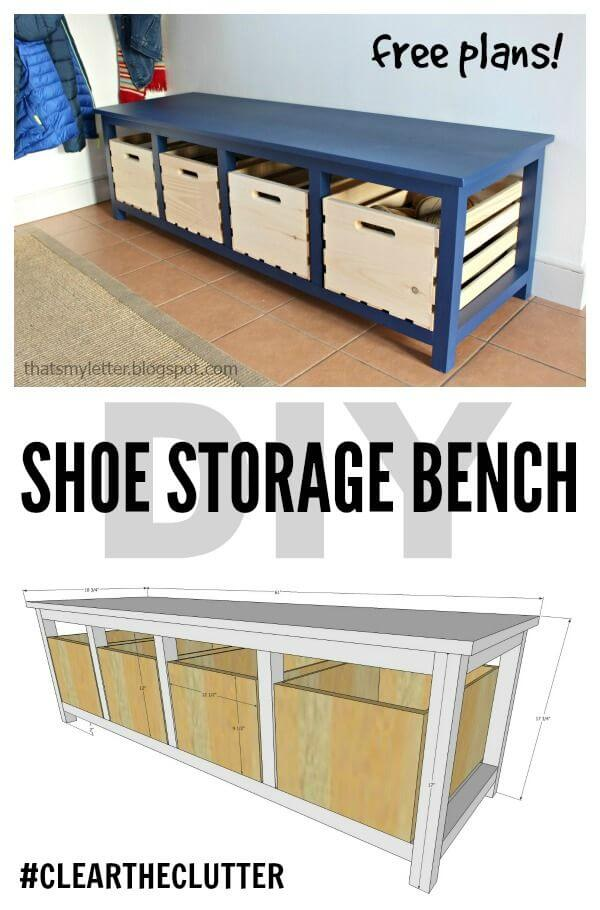 25 best diy entryway bench projects ideas and designs - Diy shoe storage for entryway ...