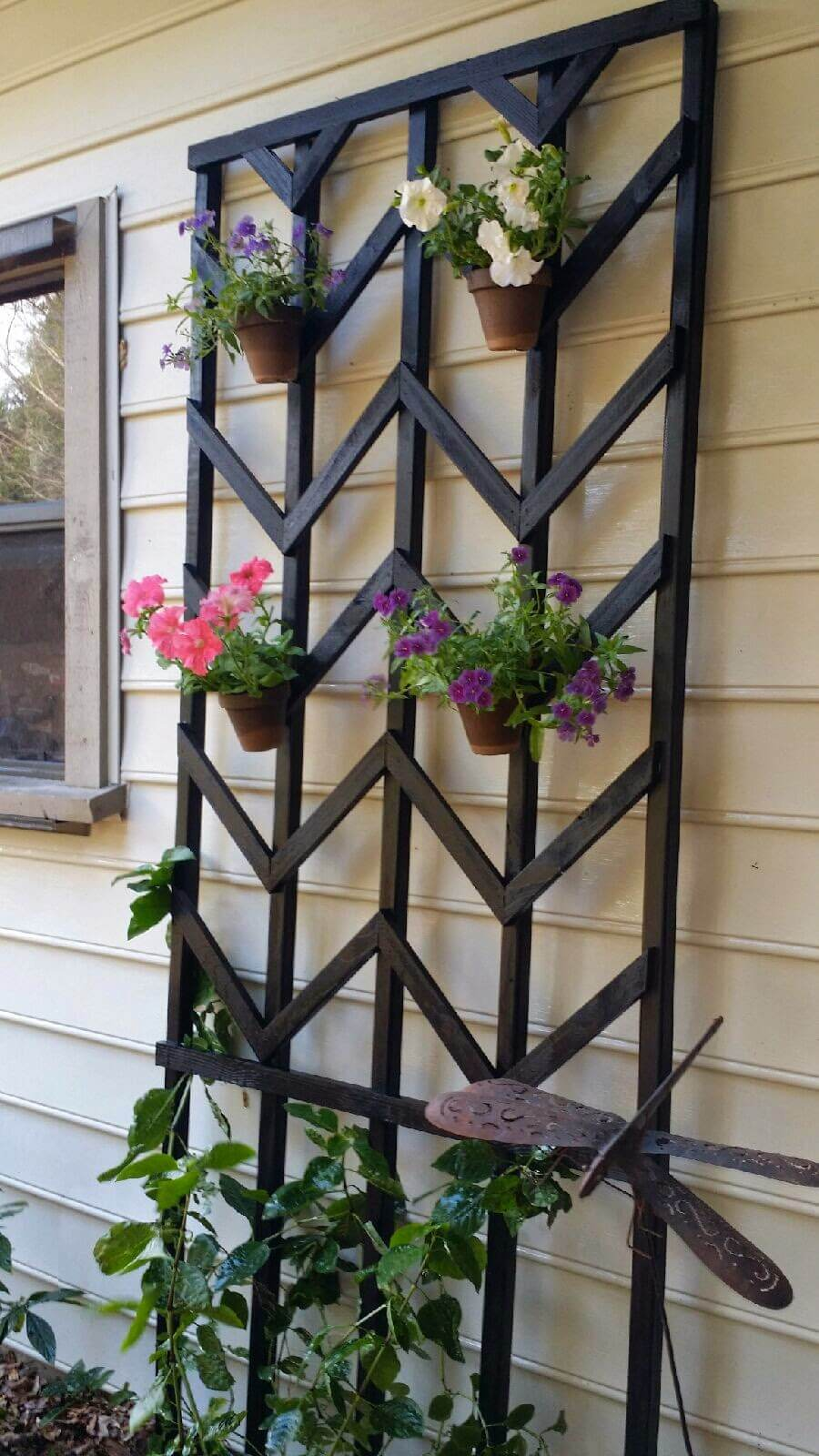 Chevron Lattice with Hanging Planters